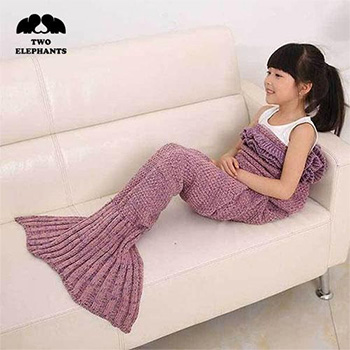 Two Elephants™ Knitted Wool Mermaid Tail Blanket for Kids and Adults - $24.99 With FREE Shipping